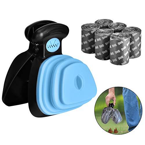 Outtybrave - Pala para excrementos de Perros con 6 Bolsas de residuos para Mascotas pequeñas, con Bolsa para excrementos de Mascotas, removedor de Caca y recogedor, Color Azul