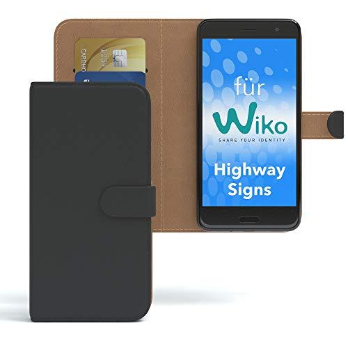 EAZY CASE WIKO Highway Signs Hülle Bookstyle mit Standfunktion Book-Style Case aufklappbar, Schutzhülle, Flipcase, Flipstyle, Flipcover mit 2 Kartenfächern aus Kunstleder, Schwarz