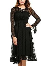 Bricnat Damen Vintage Spitzenkleid Sexy Ballkleid Langarm Partykleid  Transparent Strandkleid Festliches Cocktail Kleid Abendkleid Minikleid 54176aa2c2