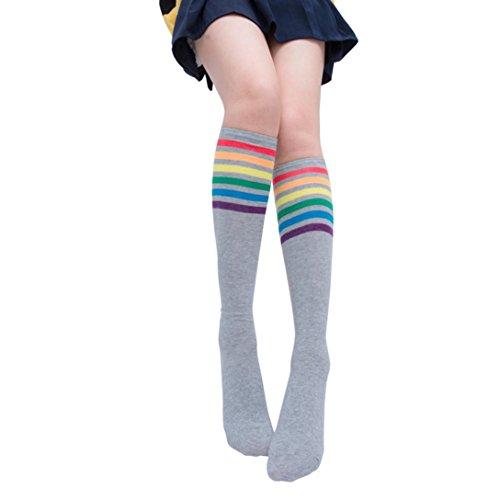 Solike 1 Paar Oberschenkel hohe Socken über Knie Regenbogen Streifen Mädchen Fußball Socken (Grau) -