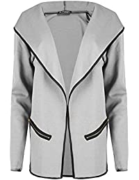 Ladies Hoodie Zip Pockets Long Sleeves Open Front Cardigan Womens Baggy Jacket Stretchy Winter Warm Outerwear Plus Size UK 8-22