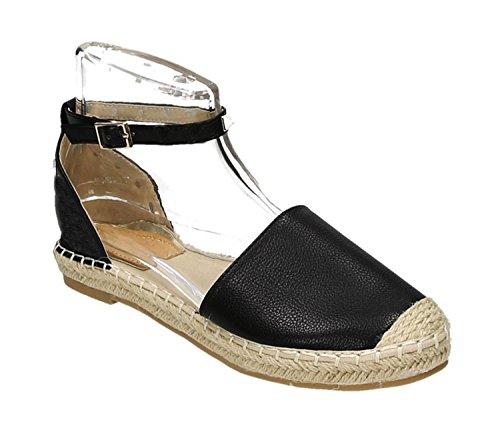 Bequeme Sommer Damen Nieten Riemchen Espadrilles Sandalen Sandaletten Schuhe A5-2 (36, Schwarz)