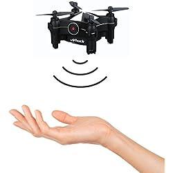 Virhuck V-3 Drone Wifi FPV Drone Quadcopter, con 0.3 MP Camera/Altitude Hold/Control de APP /One-key Despegue/Detección de Gestos/Rotación 3D/360 Degree Eversion Mini Drone Navidad presentes día de San Valentín- Negro