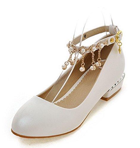 VogueZone009 Femme Matière Mélangee Boucle Rond à Talon Bas Couleur Unie Chaussures Légeres Blanc