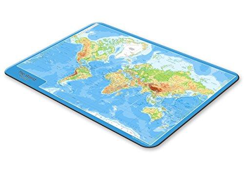 World Physikalische Karte–Tisch Tischset –-– hitzebeständig und abwischbar aus Hartfaserplatte–23x 32Zentimeter