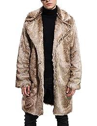 Biback Herren Faux Pelzmantel Langärmeligen Verdicken Mittellangen Stil  Mantel Outwear Parka Herbst Und… a71fa1bcad