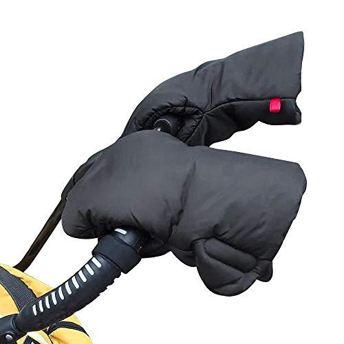Kompassswc 1 Paar Kinderwagen Baumwolle Handwärmer Winter Handmuff Winddicht Wasserdicht Handschuhe mit Fleece Innenseite klettverschluss Universal für Kinderwagen Buggy Rollator (Schwarz)