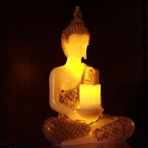 Estatuas de Buda tailandés Estatua de Buda Sostenedor de velas con una vela Led Tealight con temporizador, con pilas, 35cm