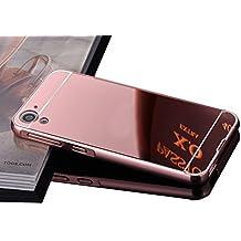 Vandot Duro Híbrido Carcasa para HTC Desire 816 Premium Bumper Case del Metal Aluminio + PC Ultrafina Espejo Protective Dura Caso y la Cubierta Piel -Oro Rosa