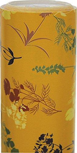 Clairefontaine 211237C Rouleau papier cadeau Excellia 80g 50x0,70m Motif Fleurs sauvages sur fond jaune