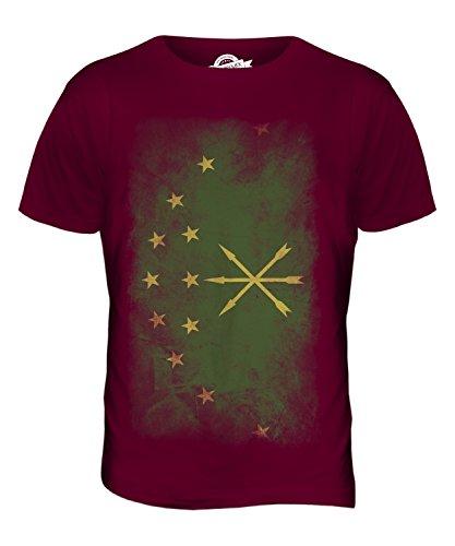 CandyMix Adygeja Verblichen Flagge Herren T Shirt Burgunderrot