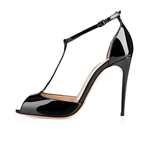 EDEFS Femmes Escarpins Talon Haut Aiguille Bride Cheville Chaussures Bout Ouvert Noir