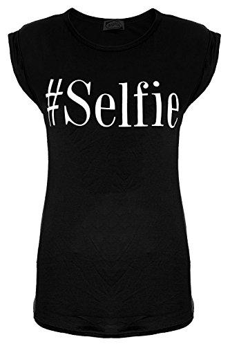 Damen Selfie Bedruckt Dehnbar Gekrempelt Shorts Flügelärmel Rundhals T-shirt Mini Top Übergrößen Schwarz