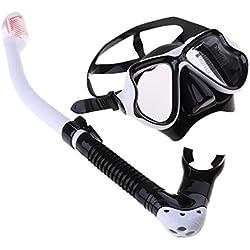 perfk Masque Snorkeling Masque de Plongée et Tuba Antibuée Lunettes de Plongée Réglable - Blanc, comme décrit
