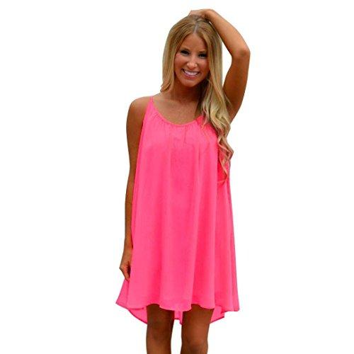 Bovake Mode Frauen Spaghetti Strap Zurück Howllow Out Sommer Chiffon Beach Kurzes Kleid (S, Hot (Pink Hot Kleid Flapper)