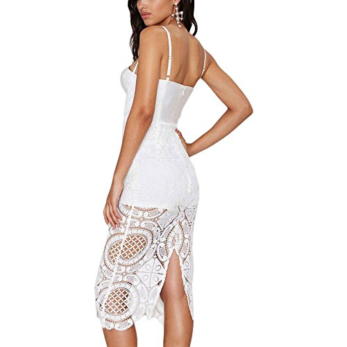 HLBandage Women's Sexy Floral Lace Spaghetti Strap Midi Bandage Dress Blanc
