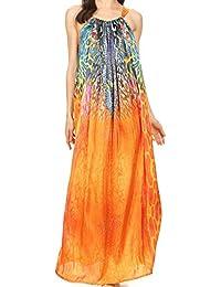 Sakkas Calypso Robe longue colonne réglable avec imprimé animal et strass