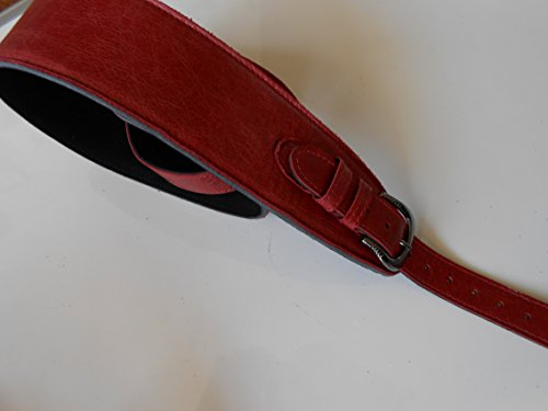 uk-made-antique-red-275-wide-padded-real-leather-soft-adjustable-buckle-electricacoustic-or-bass-gui