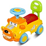 GoodLuck Baybee - Toddlers Ride On Push Car With Music Toy Children Rider & Small Toy Infant Baby Toys | No Battery | Twist, Turn, Wiggle For Endless Fun Easy To Assemble | Kids Suitable For Boys & Girls (1-2 Years) (Yellow)