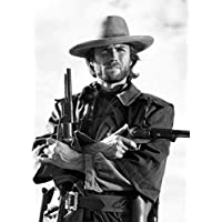 Innova Home Clint Eastwood Vintage Wall Art Retro Black White Print on Glass Picture 50x70cm