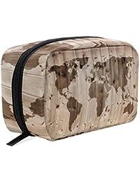 Bolsa de maquillaje de madera con diseño de mapa del mundo para la pared, bolsa