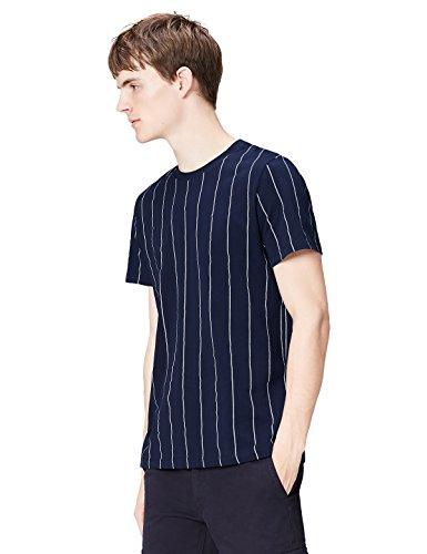 FIND Camiseta de Rayas Verticales Hombre, Azul (Navy), Medium