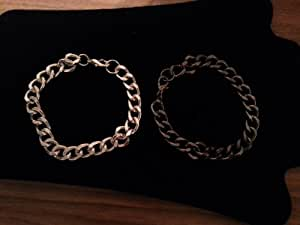 2 Mens Chain Bracelets - Silver and Dark Grey Polished Steel