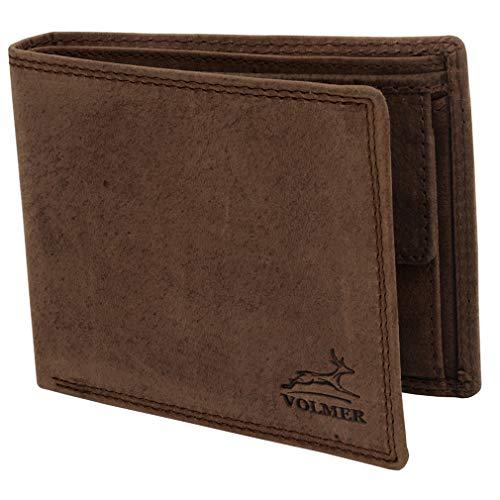 Fa.Volmer ® Robuste Herrenbrieftasche aus braunem echtem Büffelleder und RFID-Schutz # VO19-Iron -