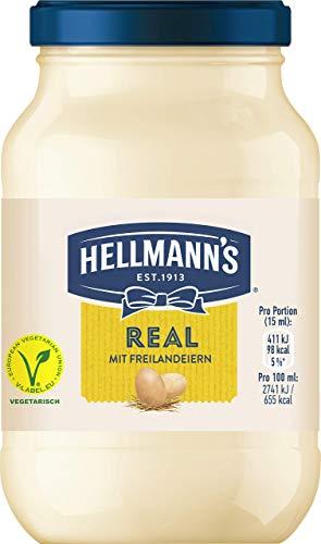 Hellmann\'s Mayonnaise Real (mit Eiern aus 100{3d1c9fe9bdcd1878a88e4c09d00683797acd57c956afc5d4bb7c6991dd7173ea} Freilandhaltung + wertvoller Öle aus verantwortungsvoller Herstellung) 6er Pack (6 x 210g)