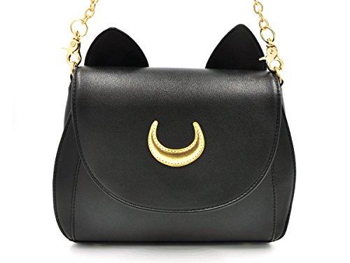 CoolChange Bolso de Sailor Moon con símbolo de la Luna y Orejas de Gato. Color: Negro