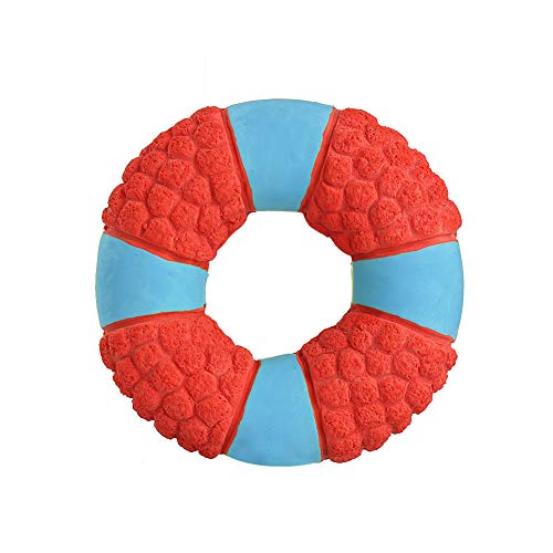 YaptheS Haustier quietschende Spielzeug Donut-Form-Latex Hunde Molar Chew Toy Interactive Welpen Zähne Reinigungs-Spielzeug Squeaker Spielzeug (Donut Spielzeug Für Hunde)