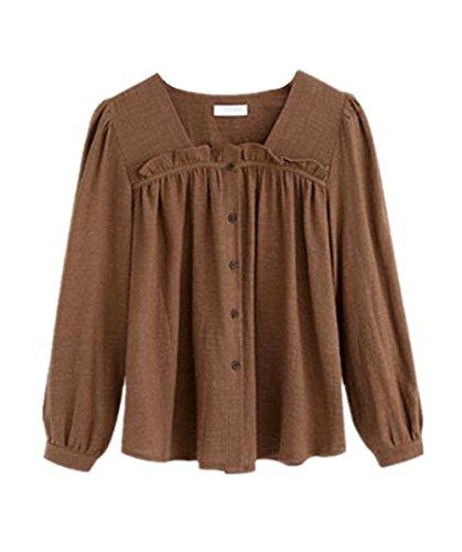 AILIENT T-shirt Avec Volants Femmes Simple Chemise Manches Longues Basique Chemiser Casual Tops Blouse Shirts Couleur Unie Café