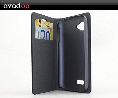 avadoo® Wiko Sublim Flip Case Cover Tasche Schwarz/Rot mit Magnetverschluss und Dualnaht als Cover Tasche Hülle
