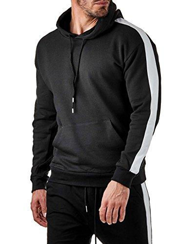 EightyFive Herren Hoodie Track Kapuzenpullover Schwarz Weiß Rot Gelb EFS6730, Größe:M, Farbe:Schwarz/Weiß