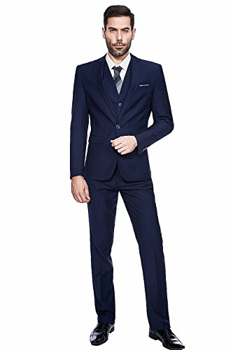 GOMY Slim Fit 3-Teilig Herrenanzug Smoking Hochzeit Party Sakko Weste Anzughose (Drei-knopf-weste)