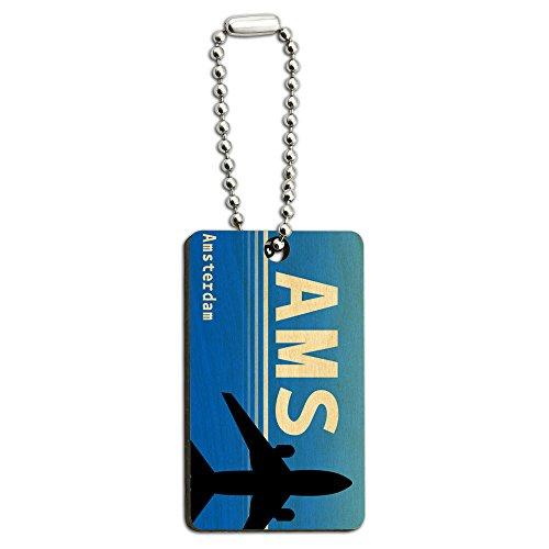Preisvergleich Produktbild Amsterdam, Niederlande (AMS) Airport Code aus Holz, rechteckiger Schlüsselanhänger