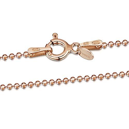 Amberta 925 Sterlingsilber Roségold 14K Damen-Halskette - Diamantierte Kugelkette - 1.2 mm Breite - Verschiedene Längen: 40 45 50 55 60 cm (45cm)