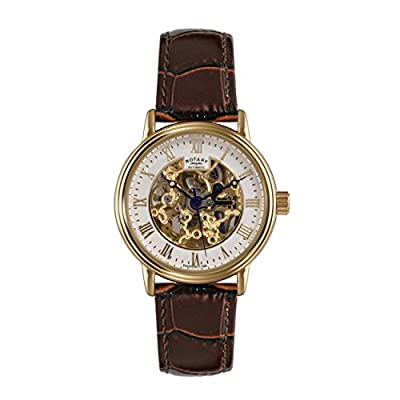 Rotary Men's Automatic Watch with White Dial Analogue Display and Brown Leather Strap GS00309/01