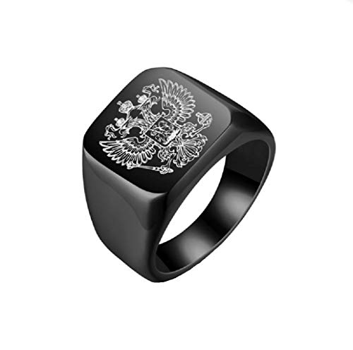 GengGeng Quadratischer Ring Russisches Nationales Emblem Titan Stahl Herrenring Doppeladler Logo Ring Handschmuck,Black,12