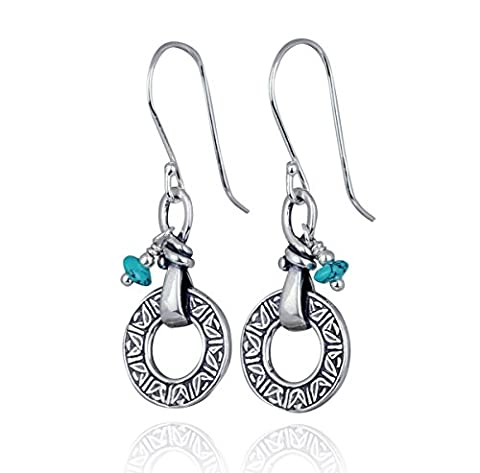 Dainty Boucles d'oreilles en argent sterling 925de style antique reconstituée Turquoise Boucles d'oreilles