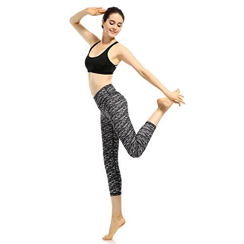 GOMNEAR aux femmes Yoga sport Un pantalon Taille haute Minceur Capris Fonctionnement Faire des exercices leggings avec Caché Poche Noir