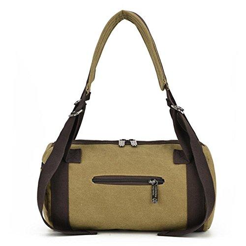 OOLIFENG Retro Segeltuchrucksack Schulter Umhängetasche Reisetasche mit großer Kapazität Kompass Khaki
