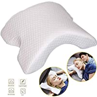 Jukkre Memory Foam Pillow Arched Cervical Neck Pillow Couple Cuddle Sleep Pillow Slow Rebound Pressure Best Side Sleeper Pillow Anti-Hand Numb for Home,Office,Travel,Gift
