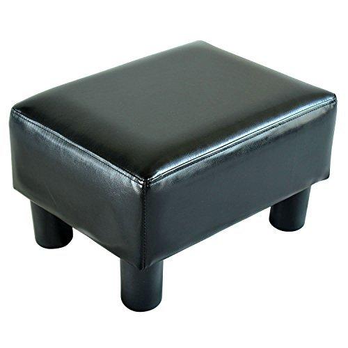 HOMCOM Fußhocker Sitzhocker Hocker Bank Sitzbank Chesterfield aus Kunstleder (Schwarz) (Schmücken Meinem Schreibtisch)
