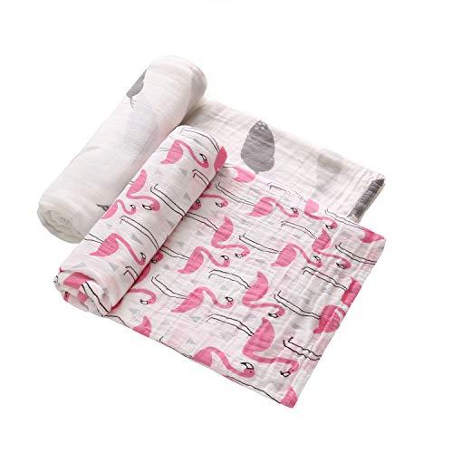 Paquet de 2 couvertures en mousseline pour bébé, 47 po x 47 po, 70% bambou, 30% coton, unisexe pour bébé ou fille, imprimé floral d'allaitement recevant une housse de poussette en tissu pour bébé