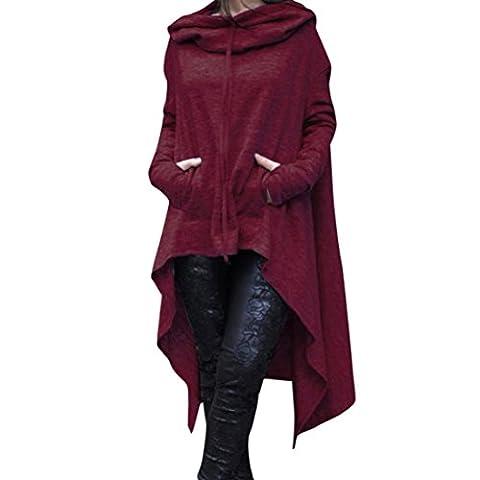 Reaso Femmes Hoodie Sweatshirt Cardigan Mode Manteau Blouson Loose Tunique Long À capuche Tops Elegant Pull Casual Gilet Asymétrique Coton Shirt Blouse Grande Taille (XXL, Du Vin)