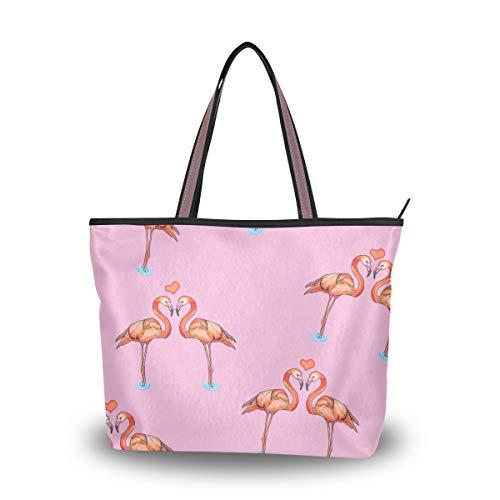Herz Tote Handtasche (Emoya Fashion Tote Bag Love Flamingos Herzen Damen Handtasche Schultertasche M, Mehrfarbig - multi - Größe: Medium)