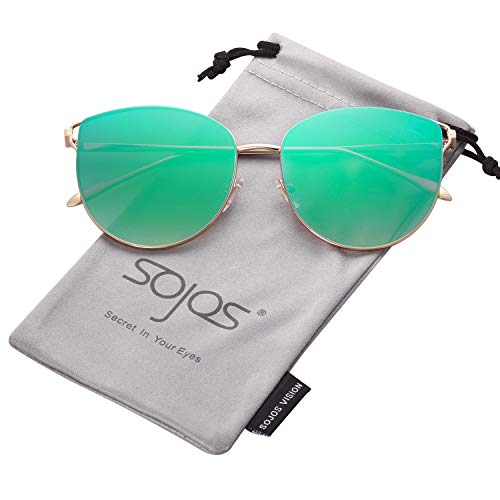 SOJOS Retro Runde Katzenaugen Sonnenbrille Mirrored Metall Flach Linsen SJ1085 (C8 Gold Rahmen/Grün Linse)