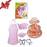 Samber Rollenspiele Kinder Pink Pädagogisches Lernen Spielzeug Küchenspielzeug Weihnachtsgeschenk Set - Küchen-Utensilien Mädchen Kochgeschirr Backen-Werkzeugschürze Spielhaus