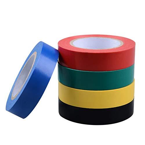 LIOOBO 5 STÜCKE Klebstoff Wasserdichtes Isolierband PVC Isolierband für DIY Industriellen Heimgebrauch-Sortierte Farbe
